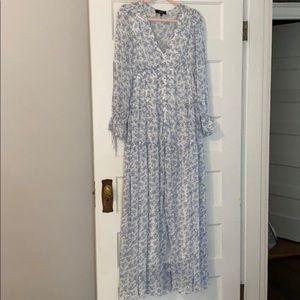 Beautiful blue and white maxi dress - size M